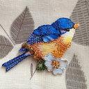 アップリケワッペン-青い鳥とハナミズキ