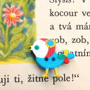 ドイツ製 ボタン 頭巾の小鳥 バード-アクア ブルー