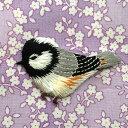 アップリケワッペンシジュウカラ小鳥左向きW-0369