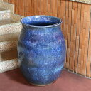 大壷 信楽焼 つぼ 大ツボ 陶器 つぼ 花瓶 しがらき焼き 大きい ツボ やきもの 玄関 和風 花入れ 花器 青色 大型 特大 ha-0214
