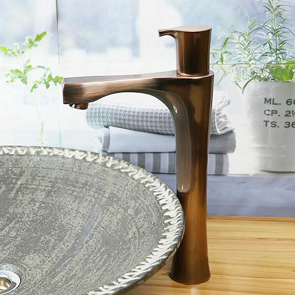 立ち水栓 手洗い鉢用 立水栓 単水栓 ブロンズ ロング [se-0025]