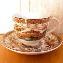 アンティーク食器・陶磁器リッジウェイデミタスカップ/カップ&ソーサー1940年頃優しい茶色の景色が可愛い/