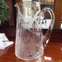 アンティーク雑貨 結婚記念 ガラスのジャグ(jug)・水差し アールヌーボー 1891年