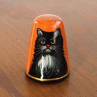 ソーイング 猫ハンドペイントシンブル(指ぬき)