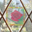 ≪ステンドグラス≫窓用・ガラス用のインテリアシール[2シート入]貼り直しができるウィンドウ・ウォールステッカー【デザイン:ローズ(バラ)、てんとう虫、アラベスク、レインボー、ぶどう、リリー、花、船】[メール便OK]