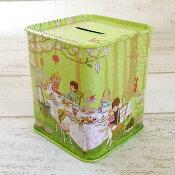 ベル&ブー ティン缶 《ピクニック 貯金箱》 懐かしいレトロな雰囲気/缶カラ/小物入れ/ブリキ缶