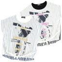 【2014SS夏の新作】シフォン重ね転写プリント半袖ボーダー柄Tシャツ/ジュニア/キッズ/140cm/150cm/160cm
