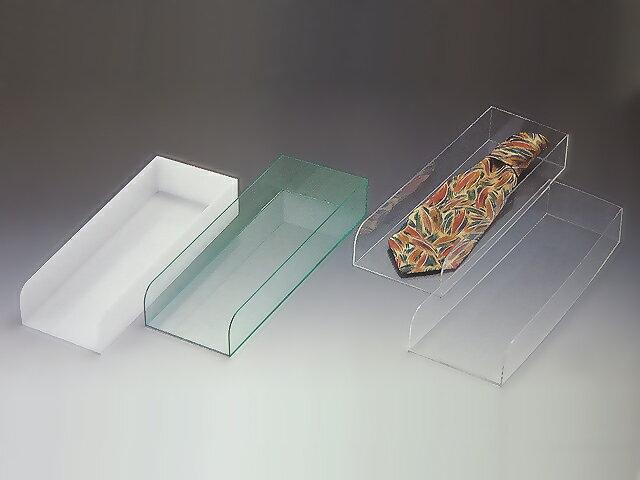 ネクタイトレイ 透明orガラス色or乳白 W120mm×D350mm×H50mm【アクリル ディスプレイ】【ディスプレイケース】【ディスプレイスタンド】