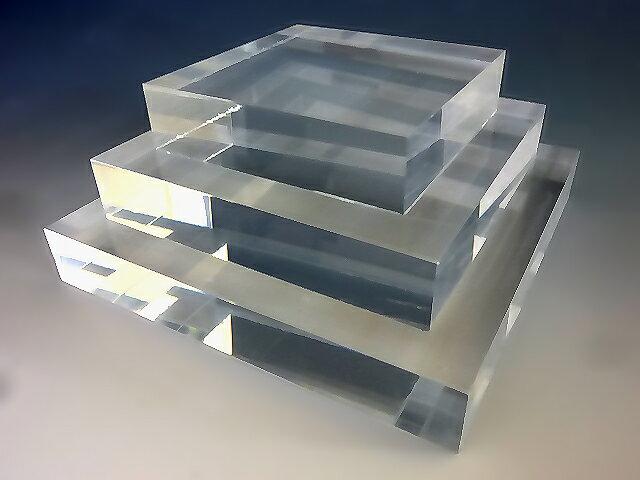 アクリル スクエアステージ W150mm×D150mm×H20mmアクリル板 アクリル素材 アクリル台 台座 棚 ひな壇 透明 コレクション スタンド フィギュア スクエア