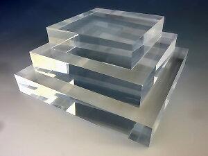 アクリル スクエアステージ W100mm×D100mm×H10mmアクリル板 アクリル素材 アクリル台 台座 棚 ひな壇 透明 コレクション スタンド フィギュア スクエア