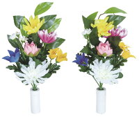 光触媒造花アレンジ 光の楽園 仏花ききょう2個セット 3A3001-20