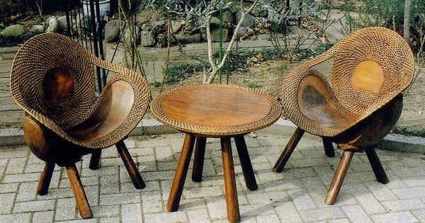 ラタンウッドテーブル 3点セット 70047_70048 ジャービス商事