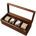 ウォッチボックス sc114 腕時計,4個入れ,枕,布貼り,透明蓋【豊岡クラフト】木製品を工房より直送!【送料無料】