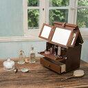 日本製 木製コスメティックボックス三面鏡...
