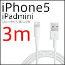 【ロングケーブル】【3m】【メール便対応可能】Apple/アップル/iPhone5/iPad mini/iPod nano/iPod touch/iPad4/Lightning USB cable/転送ケーブル/新型iPhone/ライトニングケーブル/予備ケーブル/変換アダプタ/コネクタ/au softbank