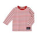爽やか、ボーダー長袖Tシャツ(赤×70cm)