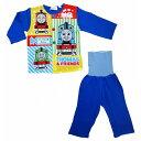 長袖前開きロールアップパジャマ トーマス(ブルー×90cm)