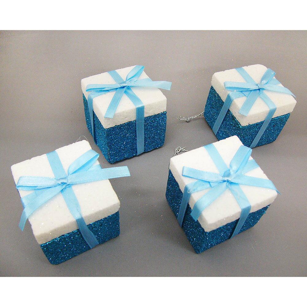【クリスマス】トイザらス チアー! 50mm グリッターギフトボックス ブルー 4個