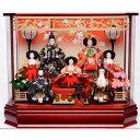 【雛人形】ベビーザらス限定 ケース七人飾り「枝桜赤 ぼかし欄間付六角アクリル【送料無料】