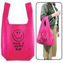 【エコバッグ】【メール便可】ECO BAG SMILE PINK(ピンク)【グッズ バッグ スマイル ニコちゃん ショッピングバッグ マチあり おもしろ雑貨 オシャレ 収納 コンパクト プレゼント 誕生日 女の子 男の子 かわいい バレンタイン ホワイトデー シリーズ】