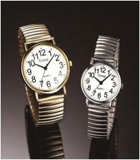 見やすい大きな文字盤のびのびベルト 見やすく付け外しが楽な腕時計!