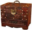 ショッピングメイクボックス アクセサリーボックス コスメ メイクボックス ジュエリーボックス 木製 小物入れ 化粧品 ミラー 鏡付き ケース 宝石箱 アンティーク調 Anberotta AT1 (Aタイプ)