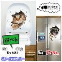 【送料無料】ウォールステッカー トリックアート 犬 猫 動物 立体 トイレ フェイスブック ブログ