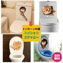 【送料無料】ウォールステッカー トリックアート 猫 動物 立体 トイレ フェイスブック ブログ 騙し