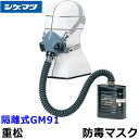 重松防毒マスク 隔離式GM91 Mサイズ 【シゲマツ/ガスマスク/作業/有毒/吸収缶】【RCP】