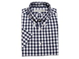 INDIVIDUALIZED SHIRTS(インディビジュアライズド シャツ)/SHORT SLEEVE STANDARD FIT BIG GINGHAM B.D. SHIRTS/navy