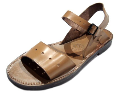 French Army Leather Sandals: Tan