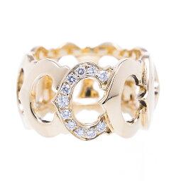 Cartier カルティエ Cドゥ パヴェダイヤ リング 指輪 #59 750YG 送料無料 【トレジャースポット】【中古】