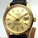 ROLEX ロレックス デイト 15038 メンズ 時計 YG イエローゴールド 無垢 革ベルト シャンパンゴールド文字盤 1981年