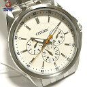 【中古】シチズン AG8340-58A メンズ 腕時計 ウォッチ クロノグラフ ステンレス クォーツ ホワイト シルバー CITIZEN 【090420】