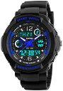腕時計 キッズ デジタル腕時計 50M 防水 多機能 スポーツ ボーイズ腕時計 アウトドア アナログ デジタル表示 誕生日プレゼント(ブルー)