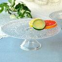 ( アラベスク ガラスケーキスタンド ) ガラス 皿 プレート アンティーク 画プレゼント