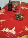 (あす楽) ( テーブルトップクロス レッド 教会とモミの木 ) 85×85cmASR 画プレゼント