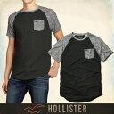 ショッピングホリスター メール便 送料無料 ホリスター メンズ Tシャツ 正規 半袖 鹿の子 Must-have Contrast Detail Tee T-Shirt 胸ポケット丸ネック ブラック グレー 通販