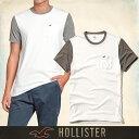 ショッピングホリスター メール便 送料無料 ホリスター メンズ Tシャツ 正規 半袖 鹿の子 Must-have Contrast Detail Tee T-Shirt 胸ポケット丸ネック ホワイト グレー 通販
