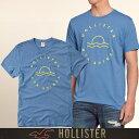 ショッピングホリスター メール便 送料無料 ホリスター メンズ Tシャツ 正規 半袖 鹿の子 Logo Applique Graphic Tee T-Shirt アプリケ 丸ネック ブルー 通販