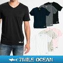 メール便 送料無料 7MILE OCEAN メンズ 半袖 Vネック Tシャツ プリント ロゴ ワンポイント 無地 Vネック 黒 白 グレー ネイビー ピンク 通販限定 S M L XL 大き目 大きい ビッグサイズ対応 02P03Dec16