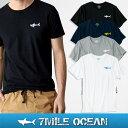 メール便 送料無料 7MILE OCEAN メンズ 半袖 Tシャツ プリント クルーネック ロゴ ワンポイント 無地 ボーダー グレー&黒 ホワイト&グレー 通販限定 S M L XL 大き目 大きい ビッグサイズ対応 02P03Dec16