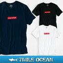 【スマホエントリーで更にポイント10倍】メール便 送料無料 7MILE OCEAN メンズ 半袖 Tシャツ プリント クルーネック ロゴ ワンポイント 無地 ボックスロゴ 黒 白 ネイビー 通販限定 S M L XL 大き目 大きい ビッグサイズ対応