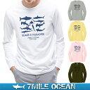 【スマホでさらに+P10倍 1/12迄】メール便 送料無料 7MILE OCEAN メンズ 長袖 tシャツ ロングTシャツ ロンT 無地 シャーク サメ ジョーズ プリント ロゴ アメカジ S M L XL XXL 大きい ビッグサイズ対応 秋冬物 02P03Dec16