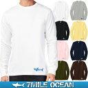 メール便 送料無料 7MILE OCEAN メンズ 長袖 tシャツ ロングTシャツ ロンT 無地 シャーク サメ 鮫 プリント ロゴ アメカジ S M L XL XXL 大きい ビッグサイズ対応 秋冬物