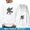 7MILE OCEAN メンズ トレーナー スウェット スエット トップス ロゴ 人気ブランド アメカジ アウトドア ストリート パロディー メッセージ おしゃれ ヘビーウェイト 裏起毛 厚手 ホワイト グレー ビックサイズ 大き目