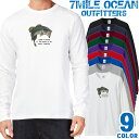ショッピングバス メンズ Tシャツ 長袖 ロングTシャツ ロンt プリント アメカジ 大きいサイズ 7MILE OCEAN ブラックバス
