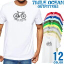 ショッピングロードバイク メンズ Tシャツ 半袖 プリント アメカジ 大きいサイズ 7MILE OCEAN 自転車 ロードバイク