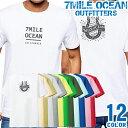 ショッピングアメカジ メンズ Tシャツ 半袖 バック 背面 プリント アメカジ 大きいサイズ 7MILE OCEAN ストリート ロゴ