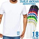 ショッピングサーフ メンズ Tシャツ 半袖 プリント アメカジ 大きいサイズ 7MILE OCEAN サメ ロゴ ワンポイント